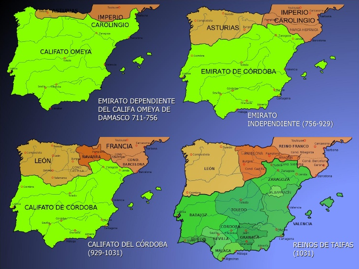 Map Of Spain Under Moorish Rule.Thinking Out Aloud The Myth Of The Andalusian Paradise