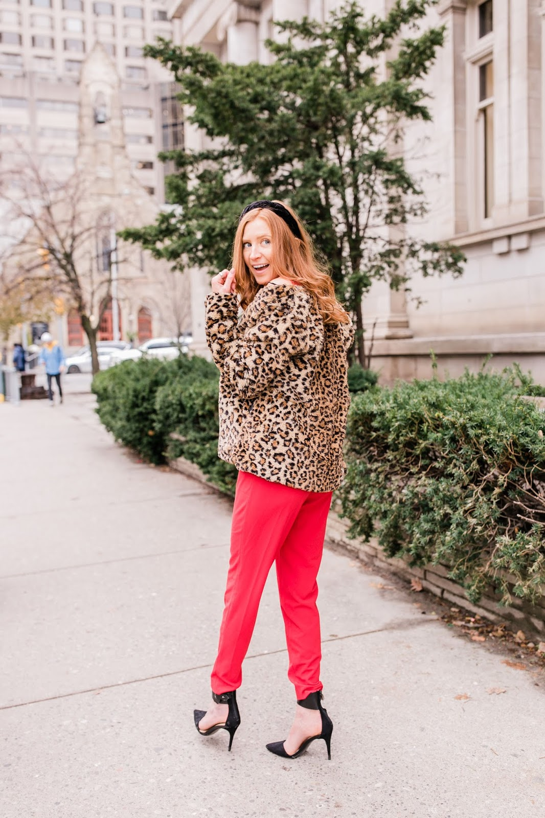 leopard holiday party jumpsuit