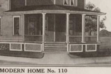 1912 catalog image close up of the front porch columns of the Sears No. 110