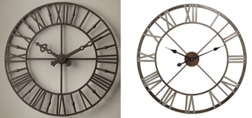 oldtimey wall clocks are always in style and here we have two prime examples both have a 19th century vintage vibe but the one on the left is from - Target Wall Clocks