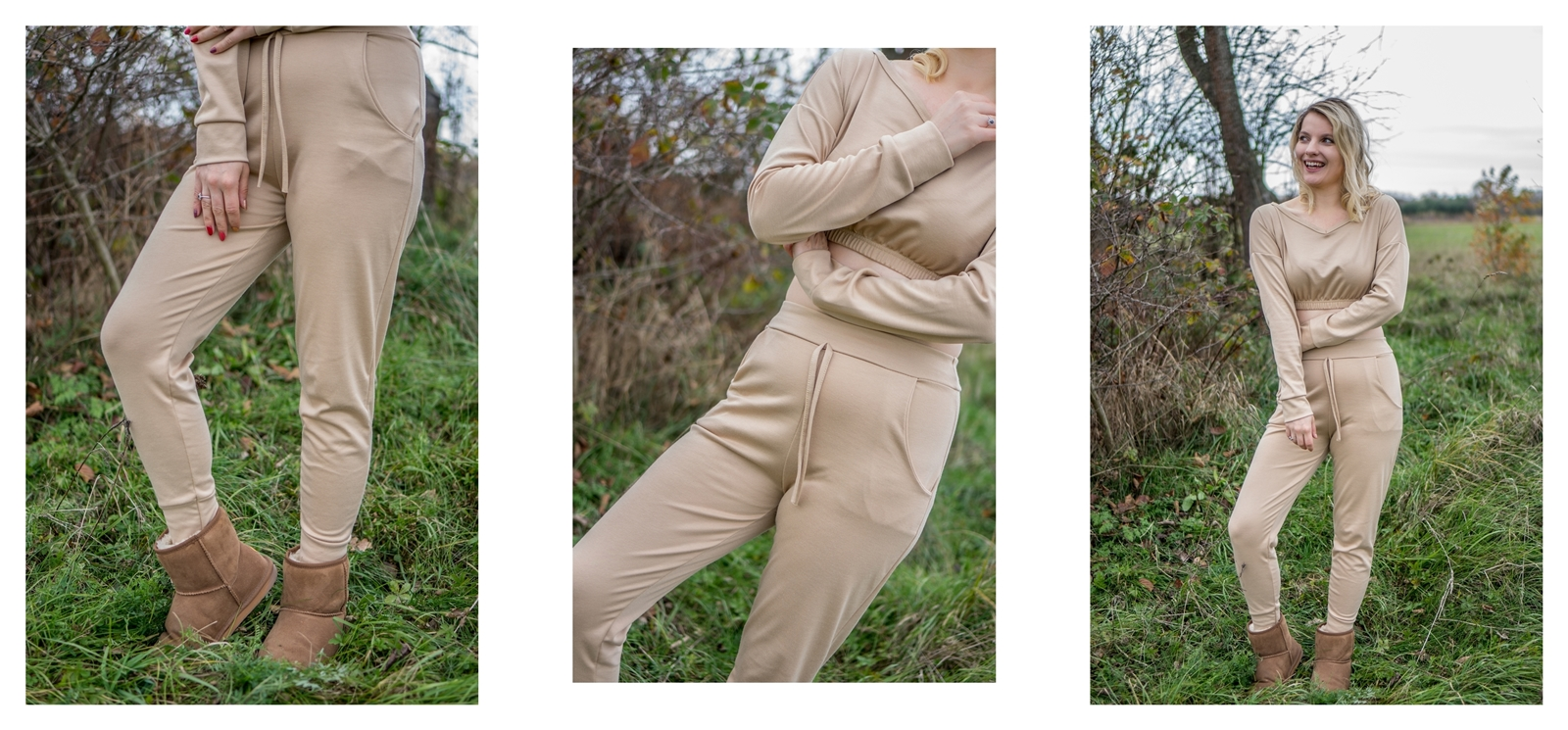 3 beżowy komplet dresowy z krótkim topem jakie buty do spodni dresowych emu jakość opinie kod rabatowy na zakupy moda łódź melodylaniella blogerka lifestyle