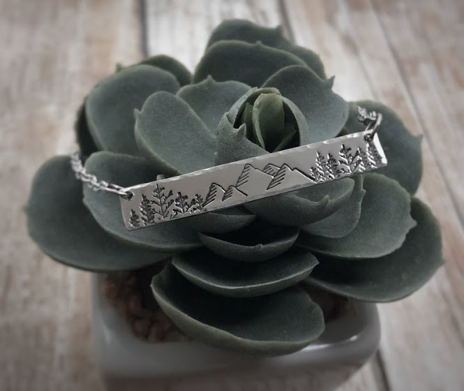 Hand stamped Nature Mountain Bar Necklace
