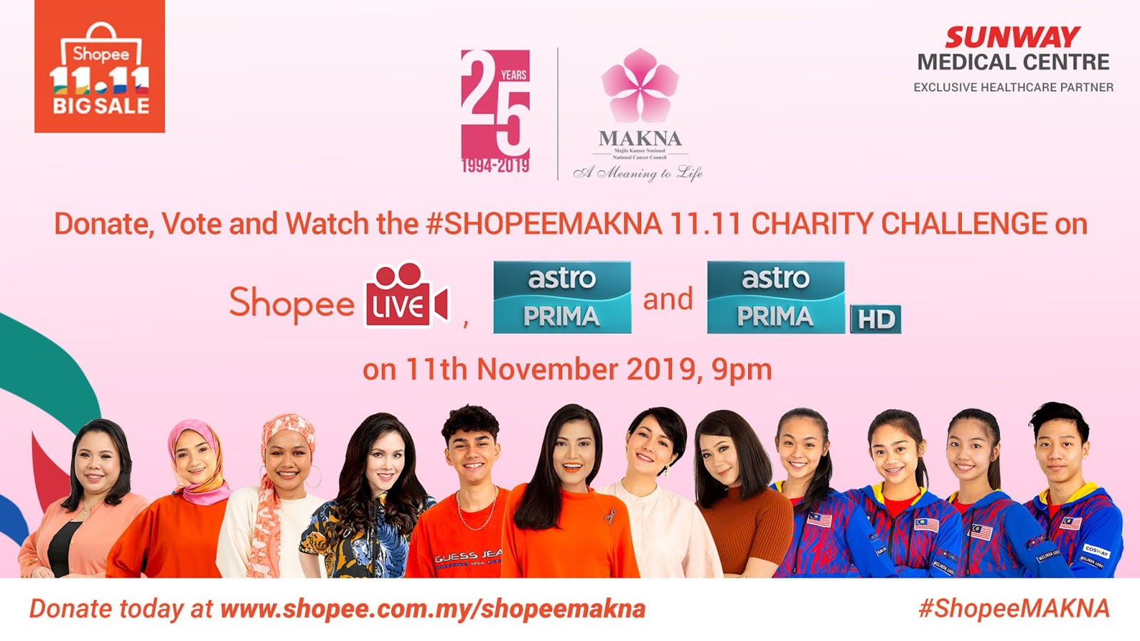 [Event] Shopee Malaysia: Watch 11 Celebrities Do the ShopeeMAKNA 11.11 Charity Challenge Live!