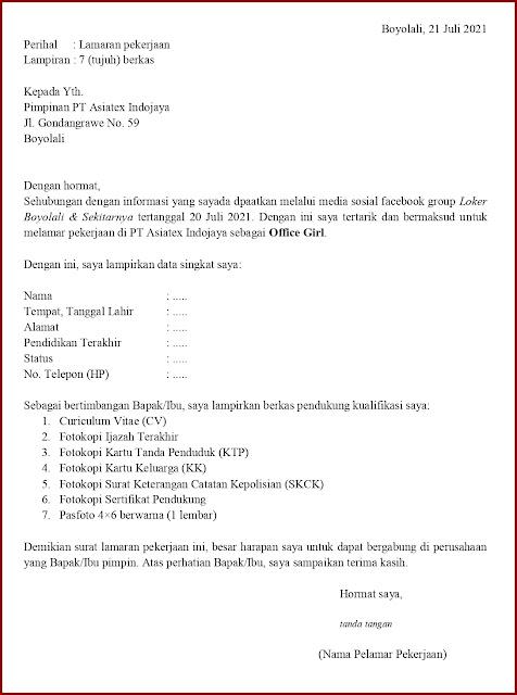 Contoh Application Letter Untuk Office Girl (Fresh Graduate) Berdasarkan Informasi Dari Media Sosial