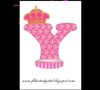 Alfabeto con Corona Dorada y Rosa. Pink Alphabet with Golden and Pink Crown.