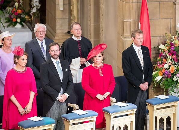 Grand Duchess Maria Teresa, Princess Stephanie wore Alexander McQueen Fuchsia Cape-back Crepe Midi Dress at National Day