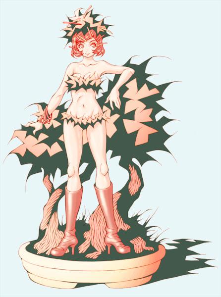 映画『人類SOS!』の植物怪獣トリフィドに、別ベクトルからのデザインコンセプトを持ち込んで描こうとした、盆栽の絵
