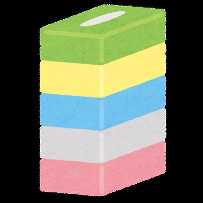箱ティッシュのセットのイラスト