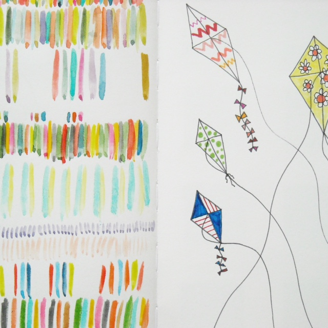 sketchbooks, 2x2, #2x2sketchbook, collaborations, drawing, sketching, markers, patterns, Dana Barbieri, Anne Butera