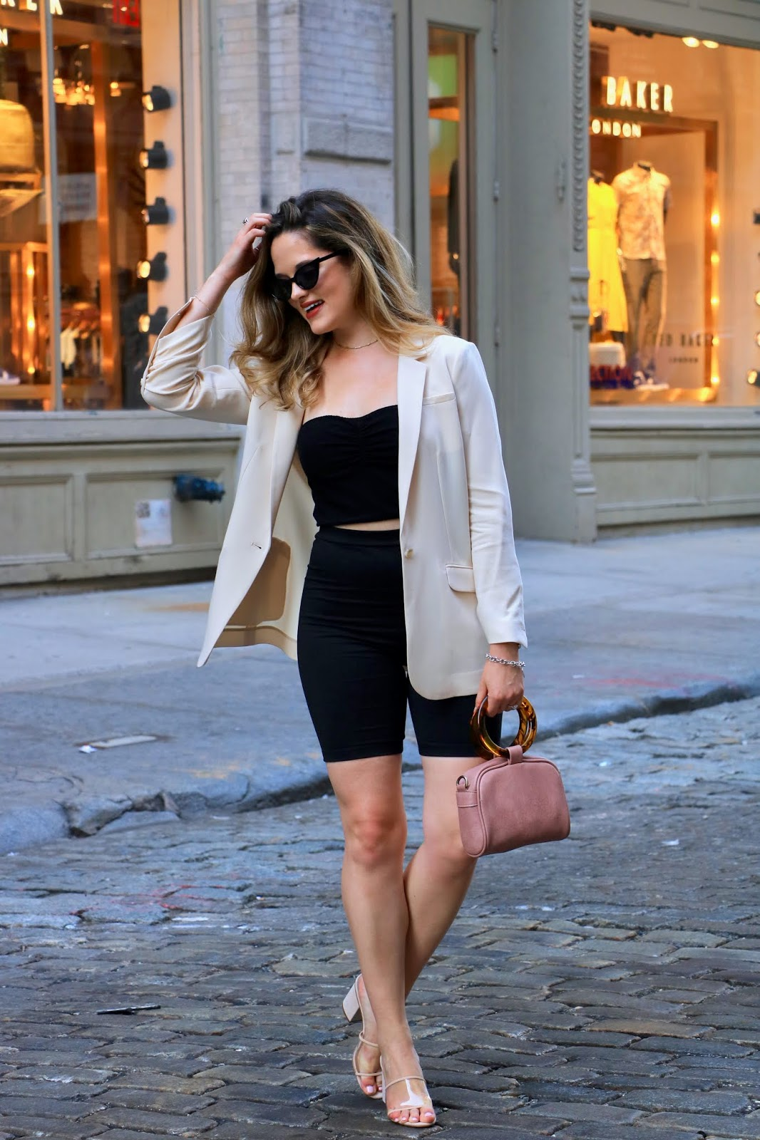 Nyc fashion blogger Kathleen Harper's bike shorts outfit ideas.
