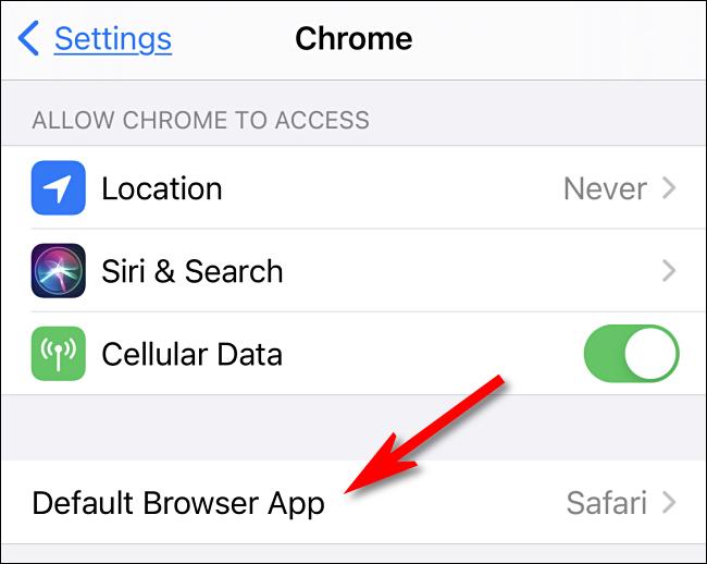 """حدد خيار """"تطبيق المتصفح الافتراضي"""" في إعدادات iPhone"""