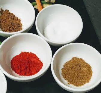 Red Chilli powder, cumin powder Garam masala salt for marinating chicken pieces for butter chicken recipe