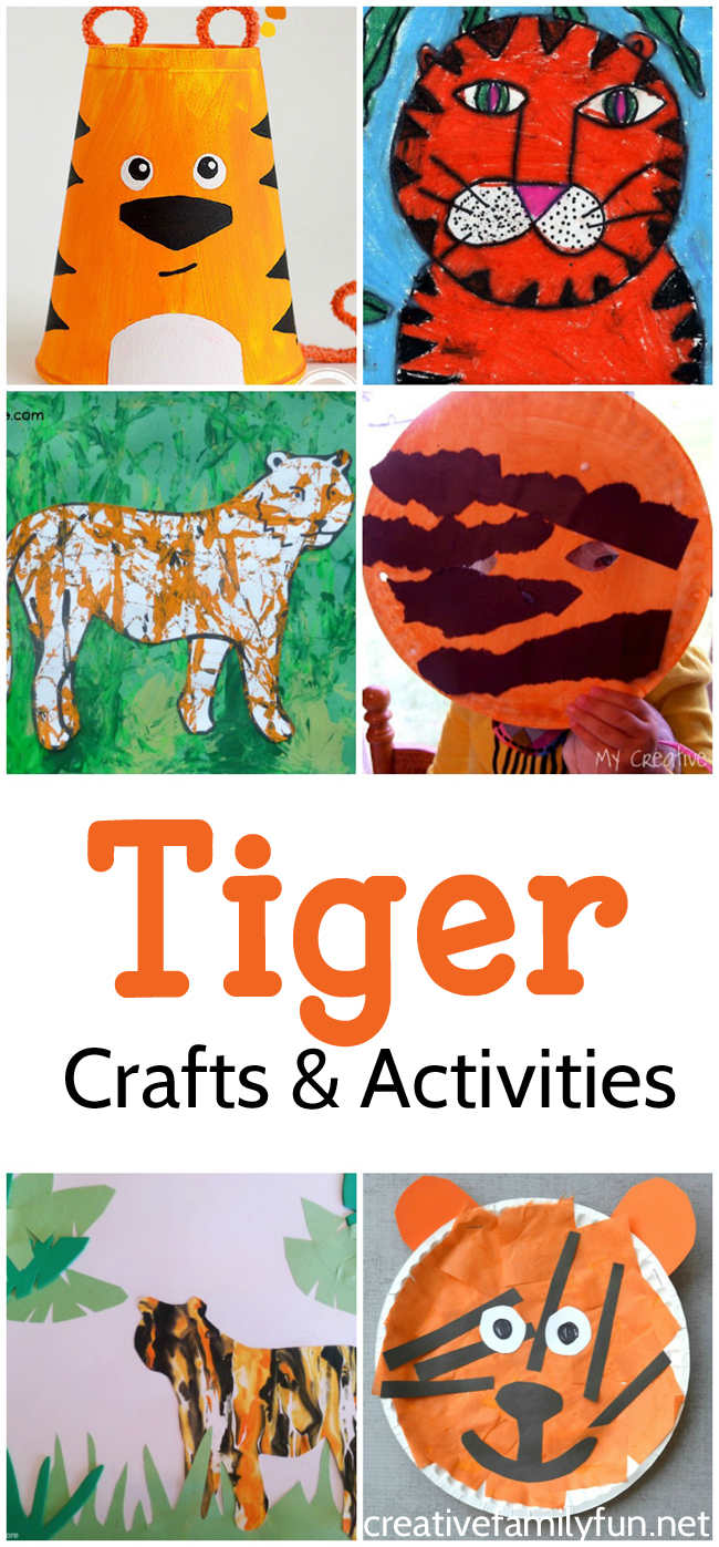 Fun kids crafts, activities, and books that are all about tigers.
