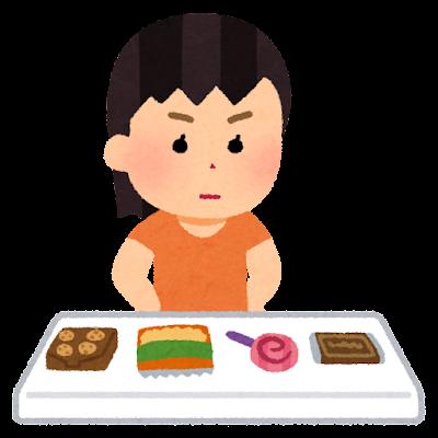 お菓子を選ぶ子供のイラスト(女の子)