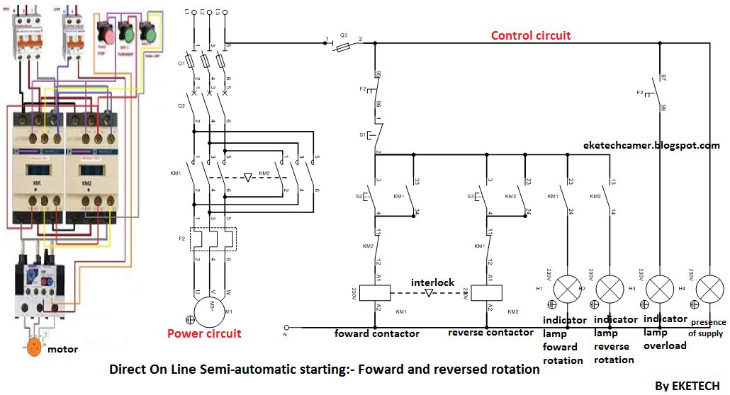 electrical wiring diagram forward reverse motor control and power direct on line starter wiring diagram forward and reverse semi  direct on line starter wiring diagram