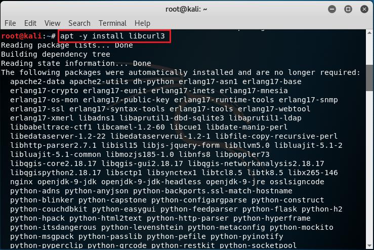 Installazione pacchetto libcurl3
