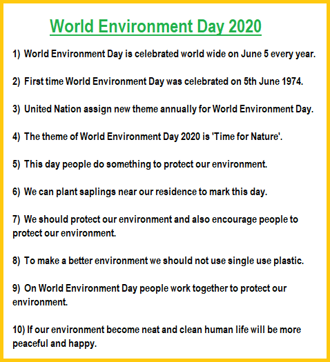 10 Lines on World Environment Day, World Environment Day 2020