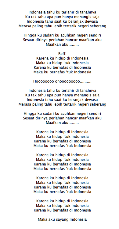 Lirik Lagu The Nelwans Aku Sayang Indonesia