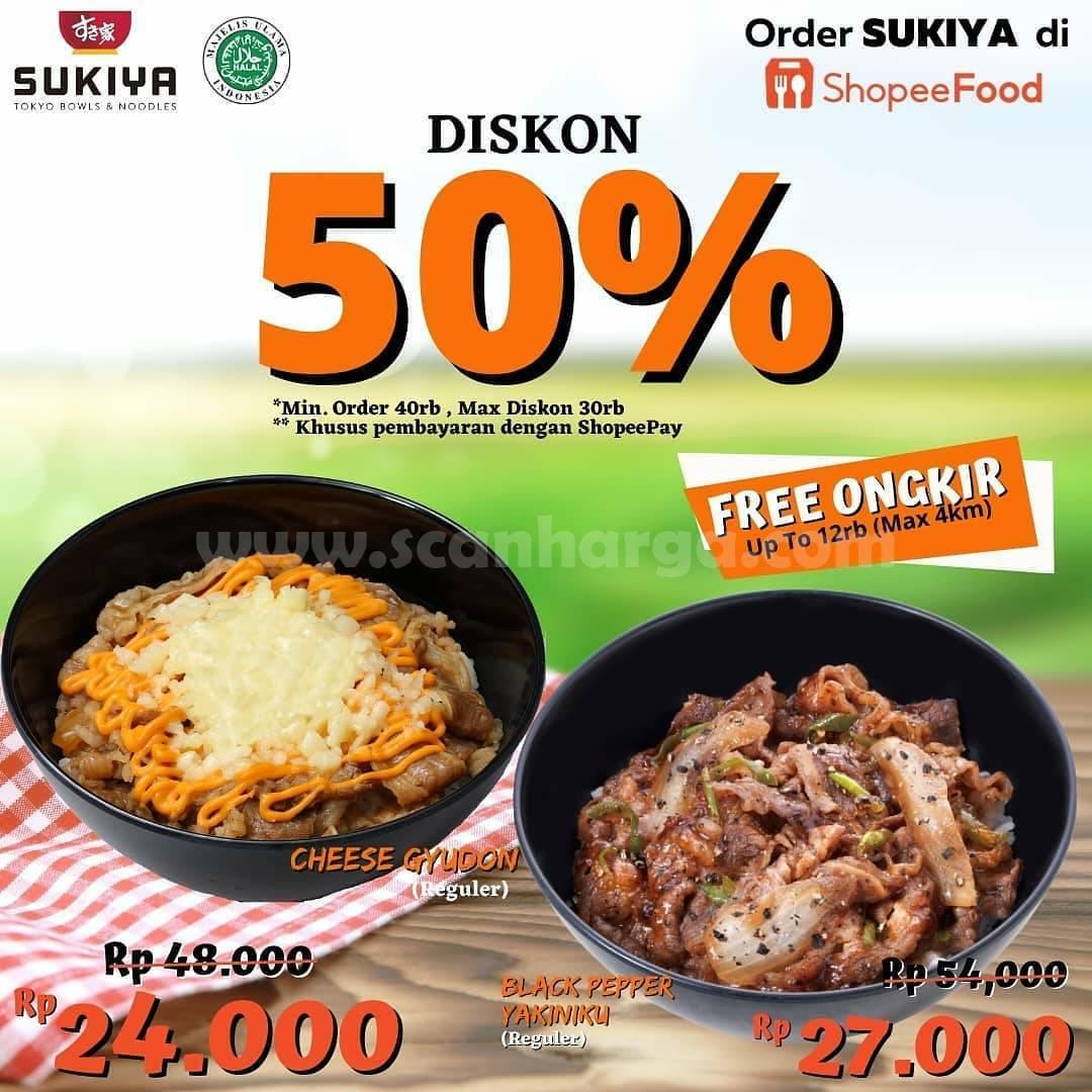 Promo SUKIYA DISKON 50% Pemesanan via Shopee Food