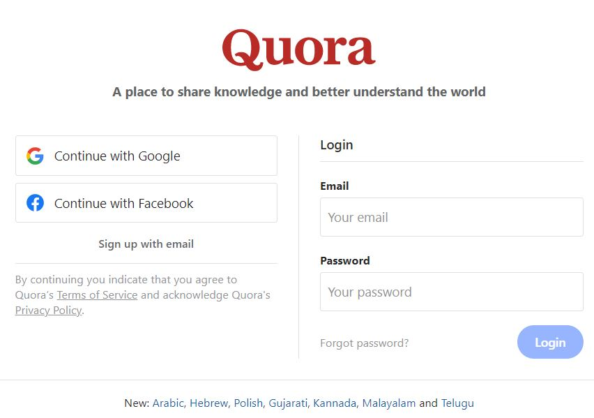 the Quora registration page