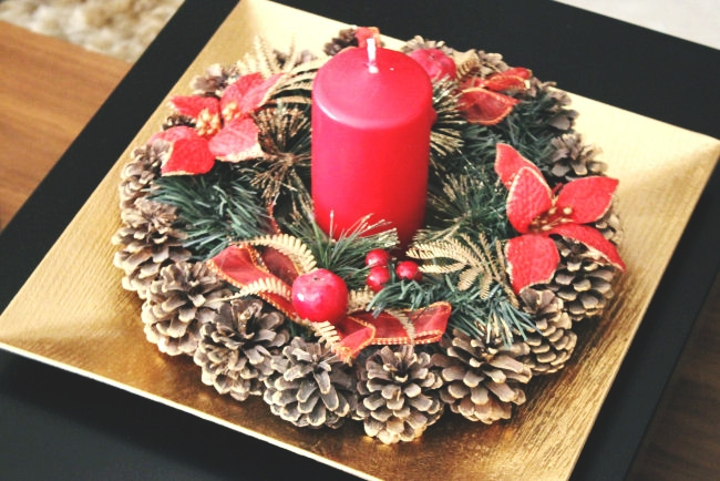 Beautiful Christmas home decoration with candles