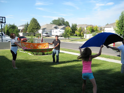 water balloon toss with towels