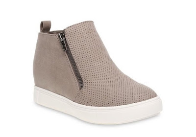 Time and Tru Sneaker Wedge in taupe on a white background.