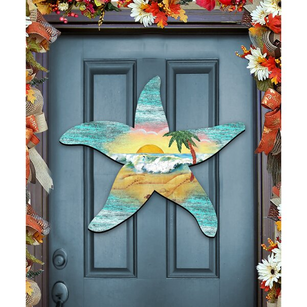 Starfish Scenic Beach Sunrise Wooden Decorative Door Hanger Wall Decor