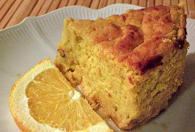 Slice of pumpkin souffle with orange slice