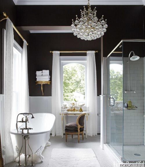 Master Bath With Recycle Tub And Chocolate Walls.