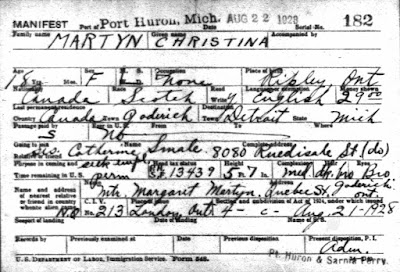 "Ancestry.com, ""Michigan Passenger and Crew Lists, 1903-1965,"" database on-line, Ancestry.com (www.ancestry.com : accessed 7 Jan 2019), entry for Christine Martyn, arriving 22 Aug 1928; citing National Archives and Records Administration (NARA), Washington, D.C; Manifests of Alien Arrivals at Port Huron, Michigan, February 1902-December 1954; Record Group: 85, Records of the Immigration and Naturalization Service; Microfilm Serial: A3441; Microfilm Roll: 6"