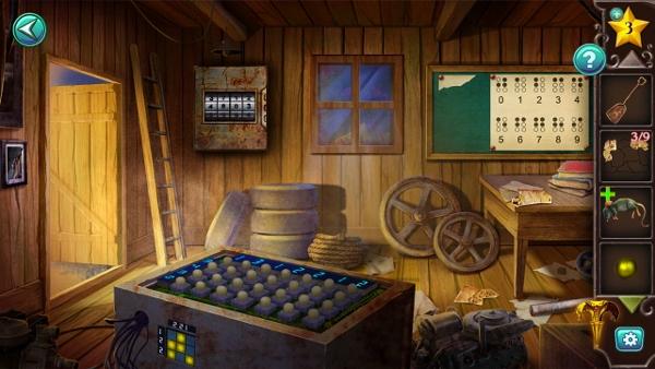 на полу подбираем кусочки карты и решаем головоломку с лампочками