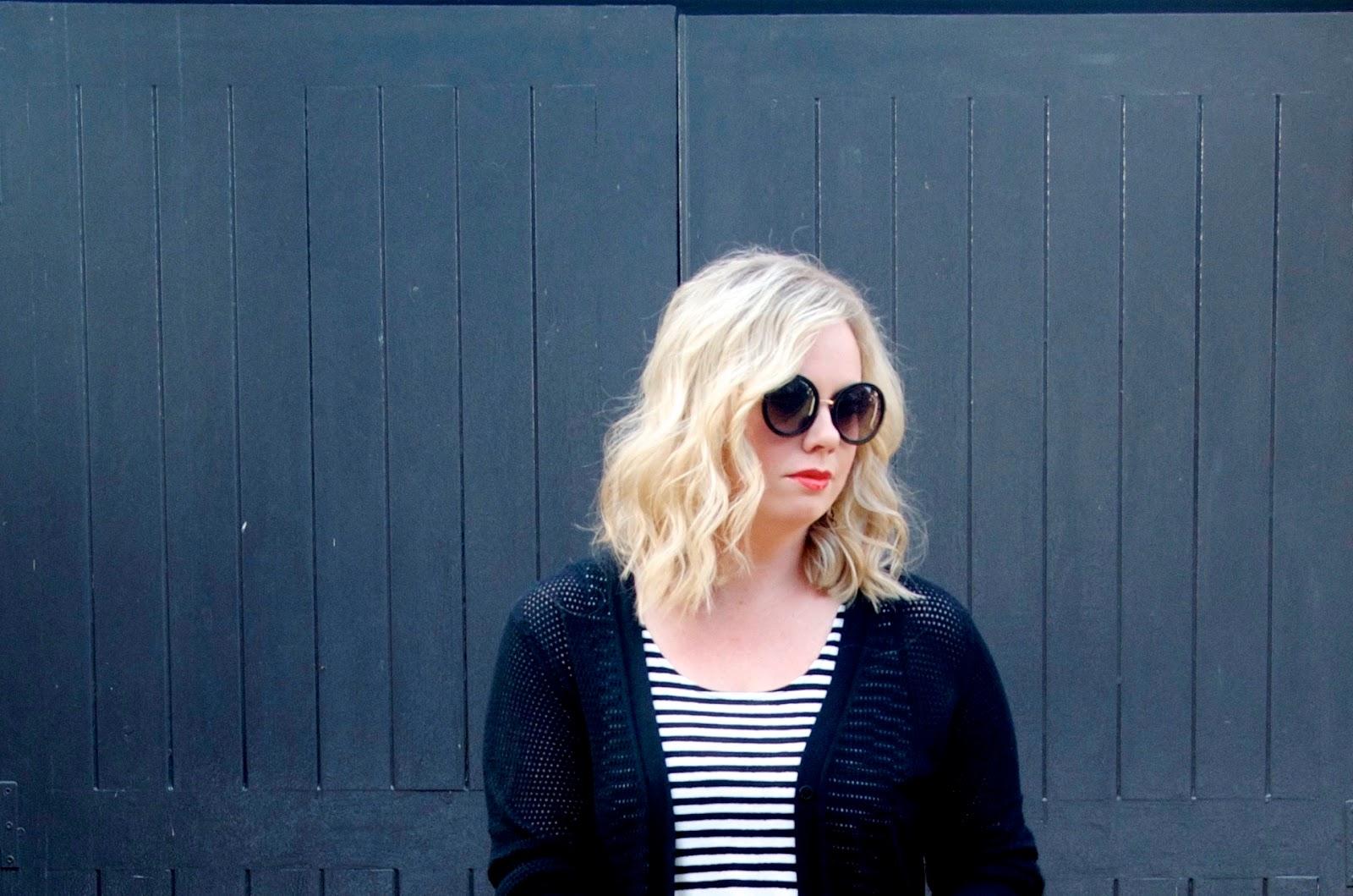 blonde bob, round sunglasses and stripes