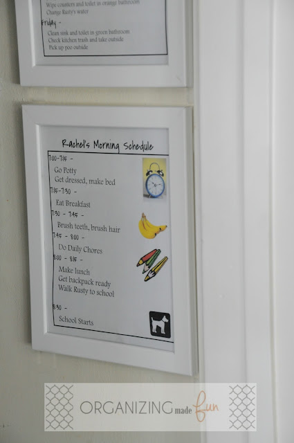 Use HEMSBORO frame in the pantry for schedules :: OrganizingMadeFun.com
