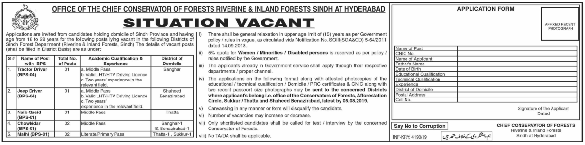Sindh Forest Department (Riverine & Inland Forest Sindh at Hyderabad) Jobs 2019 Latest