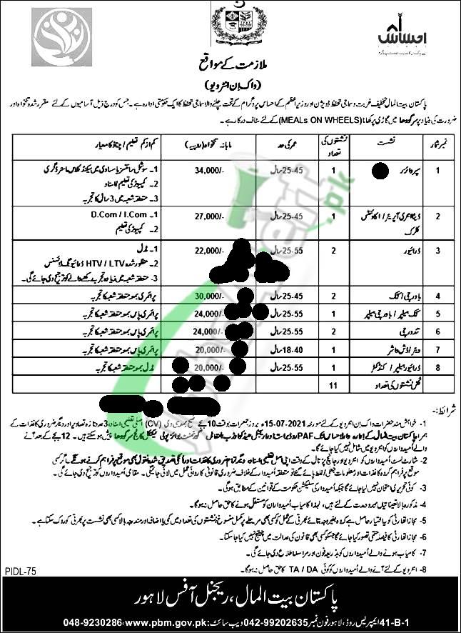 Pakistan Bait ul Mal Jobs 2021 | Latest Govt Jobs