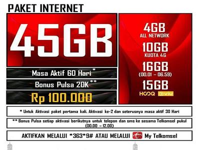 Paket Internet Murah Telkomsel Terbaru 2018 45gb Mulai 120 Ribu