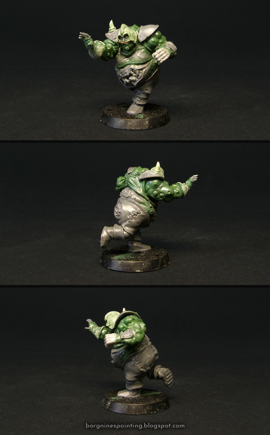 Converted tabletop miniature of Bilerot Vomitflesh, the Nurgle Blood Bowl Star Player. The kitbash is based on a Nurgle Bloater from the 'Nurgle's Rotters' GW box, with changed head and reposed arms. Greenstuff was used to add extra bulk and muscles. The model is shown from several angles.