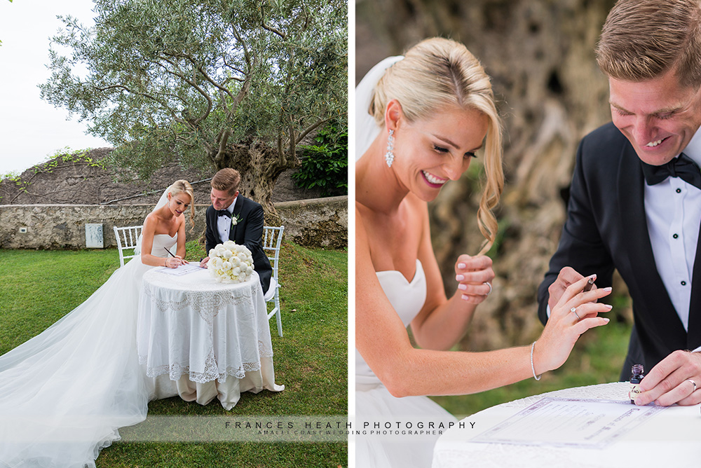 Signing wedding document
