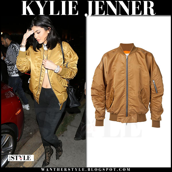 Kylie Jenner in mustard gold bomber jacket fear god what she wore celebrity style