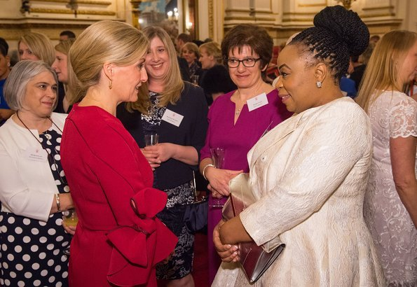 Countess Sophie of Wessex wore a Roksanda Lavete dress for the reception at Buckingham Palace. Prince Charles hosted reception for Frontline Nursing