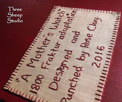 Hand stitched label for the back of a Hornbook - ThreeSheepStudio.com