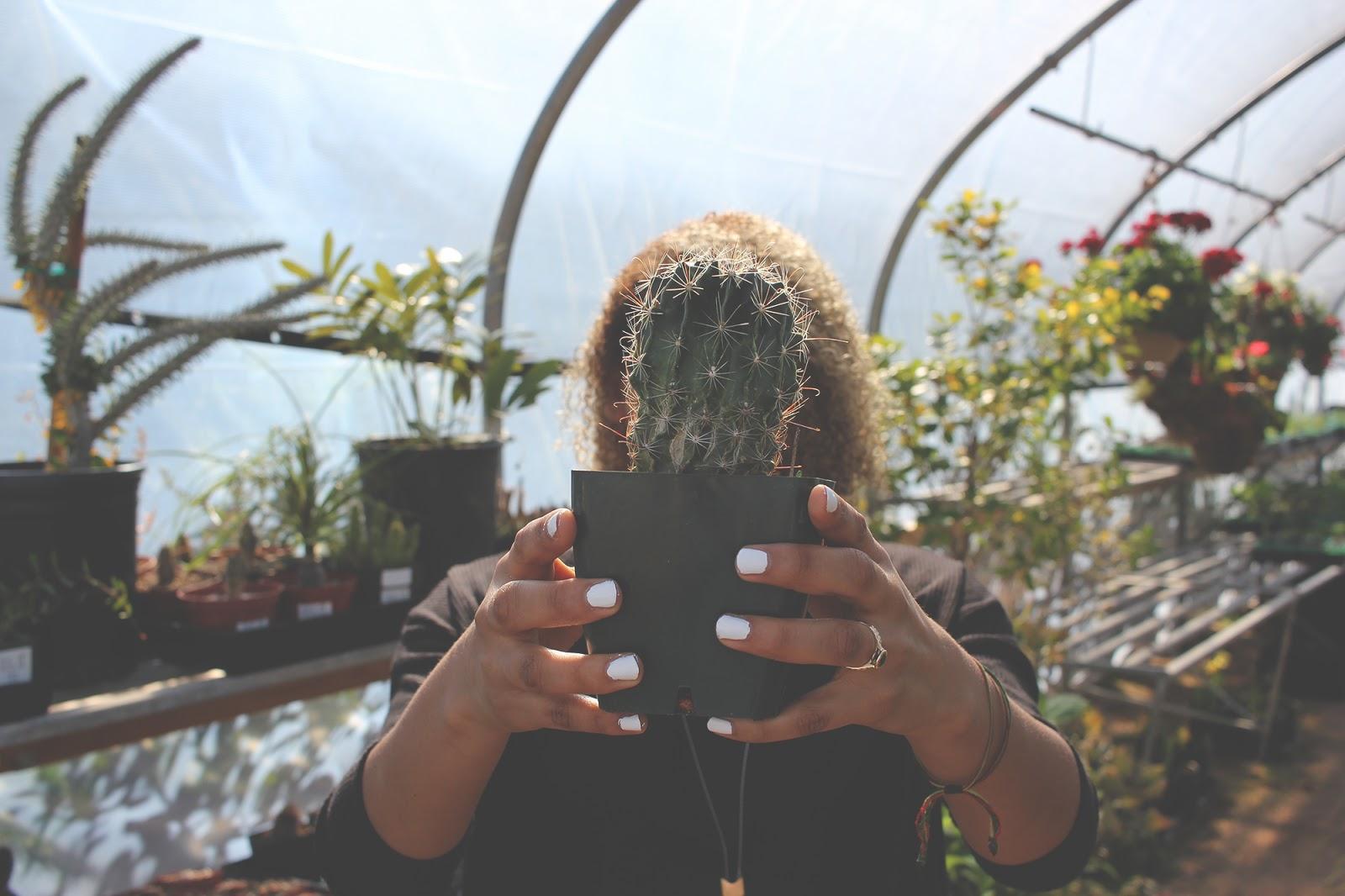 Girl holding Cacti