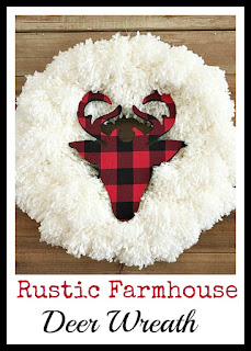 Vintage, Paint and more... rustic farmhouse deer wreath made with a yarn wreath and a decoupaged buffalo plaid wood deer head