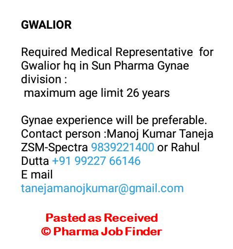 Sun Pharma - Required Medical Representative - PHARMA JOB FINDER