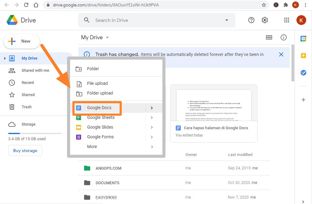 cara membuat folder di google docs
