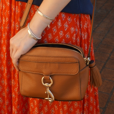 red printed maxi skirt and Rebecca Minkoff MAB camera bag in almond | awayfromtheblue