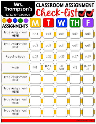 remote teaching editable assignment list