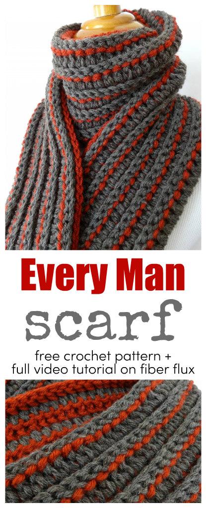 Fiber Flux Free Crochet Patterne Every Man Scarf