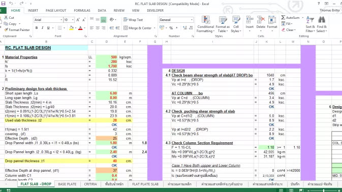 REINFORCED FLAT SLAB DESIGN EXCEL SHEET